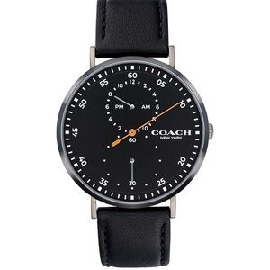 Coach Men's Charles Leather Strap Watch 41mm Black